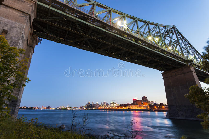 Jacques Cartier Bridge in Montreal. Jacques Cartier Bridge and skyline of Montreal. Montreal, Quebed, Canada stock photography
