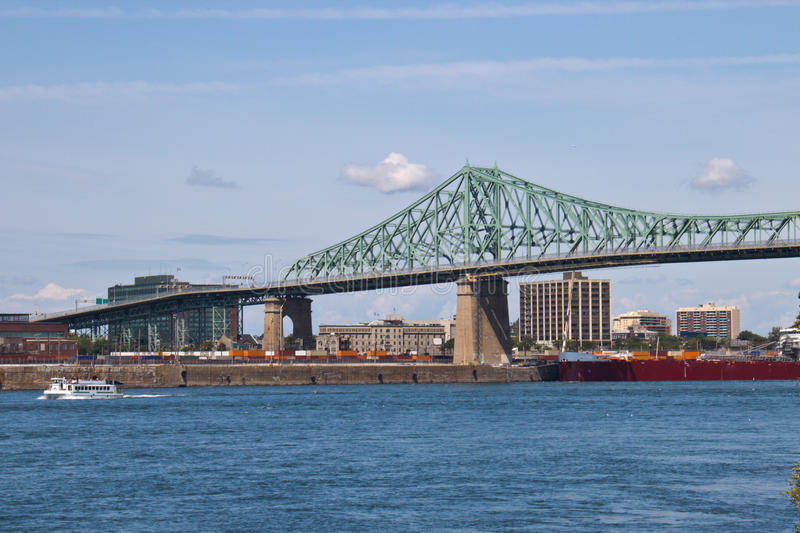 Jacques Cartier Bridge spanning the St. Lawrence seaway in Montr. Eal stock image