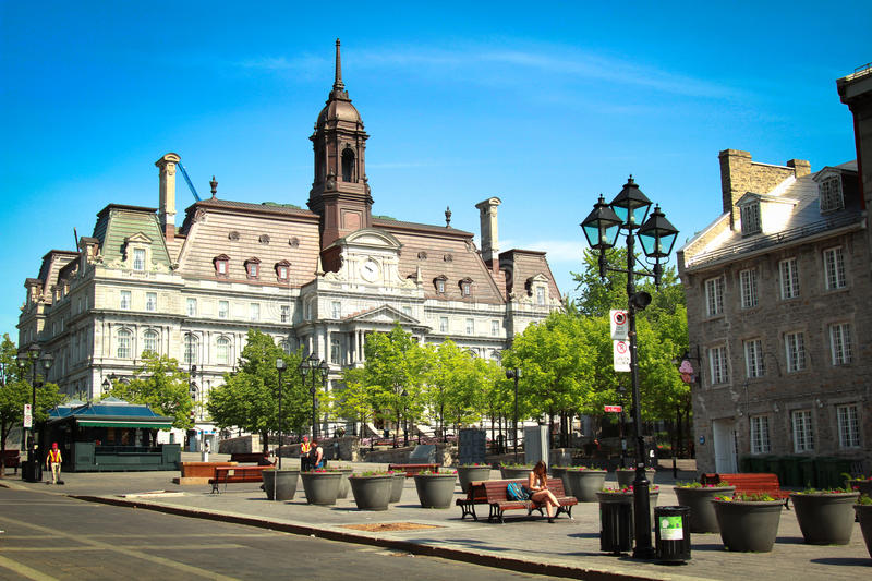 Jacques Cartier place. In Montreal with the city hall in background royalty free stock photos