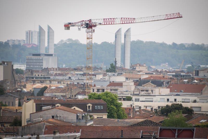 Jacques Chaban-Delmas lift bridge in Bordeaux stock images