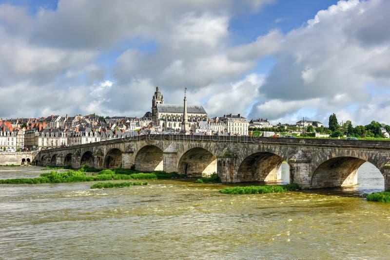 Jacques-Gabriel Bridge - Blois, France. Jacques-Gabriel Bridge over the Loire River in Blois, France royalty free stock photography