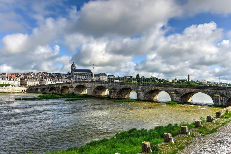 Jacques-Gabriel Bridge - Blois, France. Jacques-Gabriel Bridge over the Loire River in Blois, France royalty free stock images