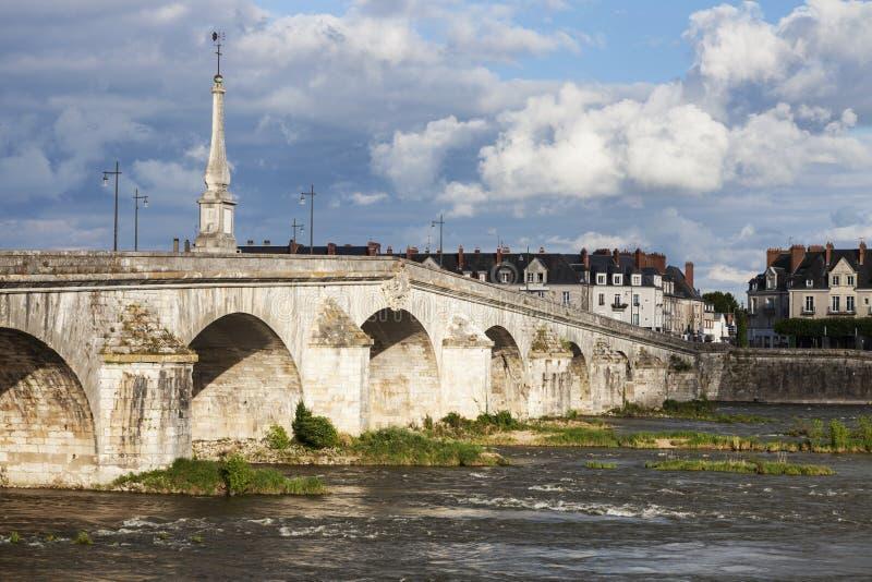 Jacques Gabriel Bridge in Blois. Blois, Pays de la Loire, France royalty free stock image