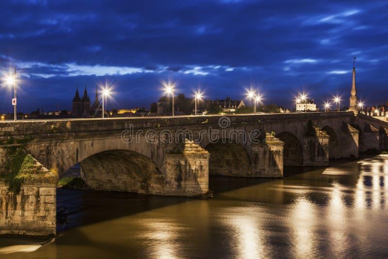 Jacques Gabriel Bridge in Blois. Blois, Pays de la Loire, France royalty free stock photos