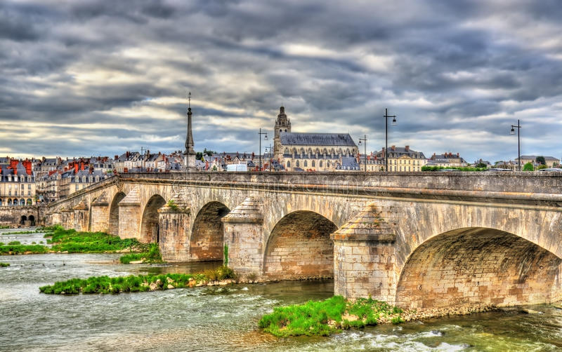 Jacques-Gabriel Bridge over the Loire in Blois, France. Jacques-Gabriel Bridge over the Loire in Blois city - France royalty free stock photography