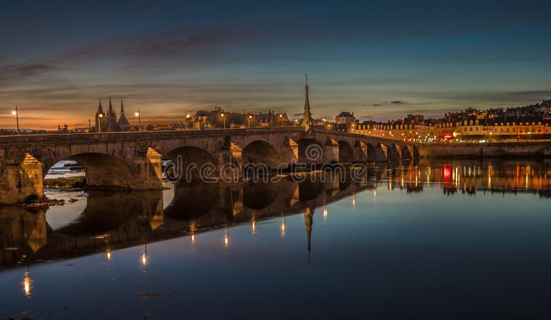 Jacques-Gabriel Bridge over the Loire River in Blois, France royalty free stock photo