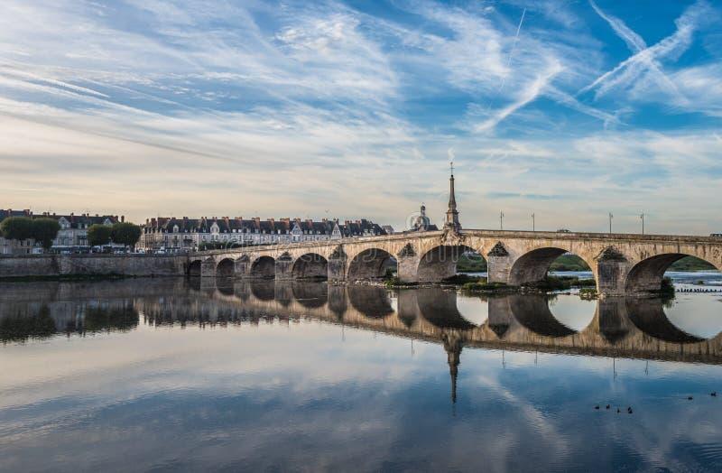 Jacques-Gabriel Bridge over the Loire River in Blois, France.  stock photo