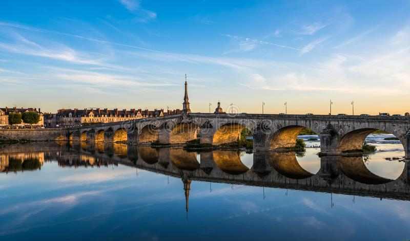 Jacques-Gabriel Bridge over the Loire River in Blois, France.  royalty free stock photo