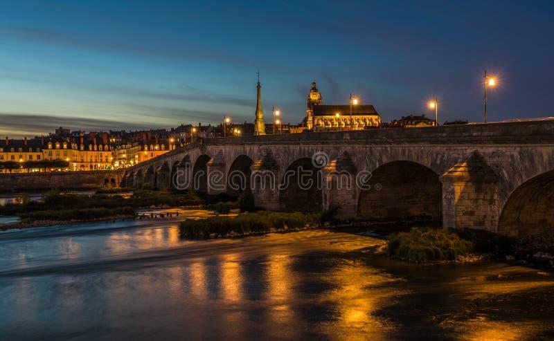 Jacques-Gabriel Bridge over the Loire River in Blois, France.  stock images