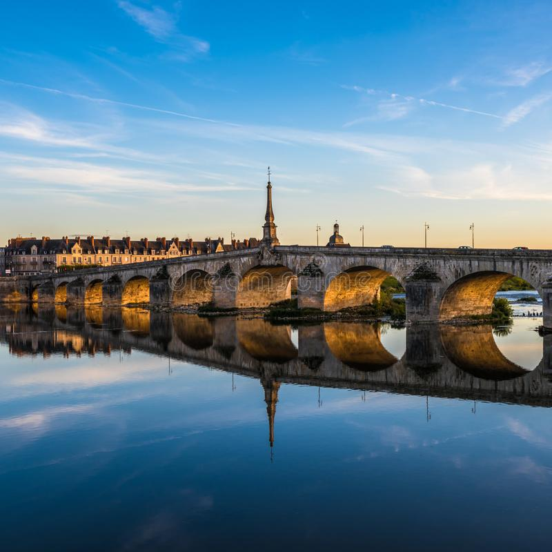 Jacques-Gabriel Bridge over the Loire River in Blois, France.  royalty free stock images