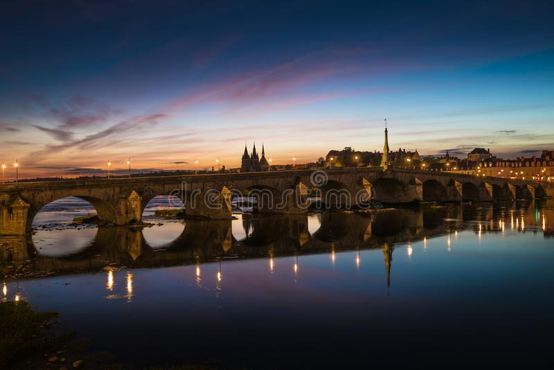 Jacques-Gabriel Bridge over the Loire River in Blois, France.  royalty free stock photography