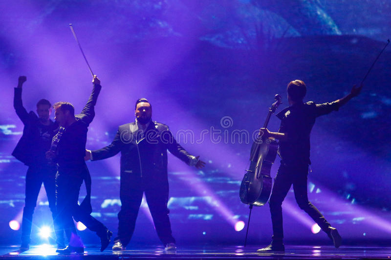 Jacques Houdek from Croatia Eurovision 2017. KYIV, UKRAINE - MAY 12, 2017: Jacques Houdek from Croatia at the Grand Final rehearsal during Eurovision Song stock photos