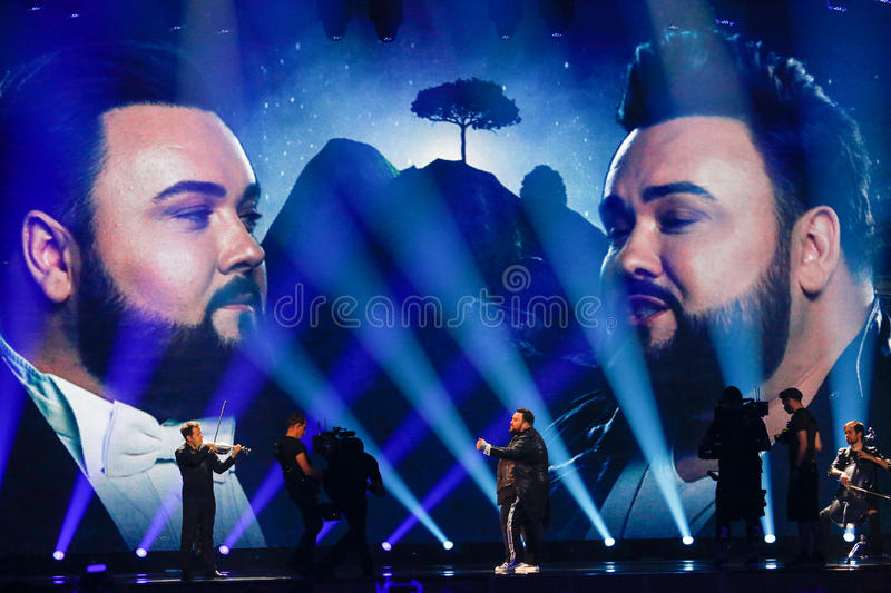Jacques Houdek from Croatia Eurovision 2017. KYIV, UKRAINE - MAY 12, 2017: Jacques Houdek from Croatia at the Grand Final rehearsal during Eurovision Song royalty free stock photography