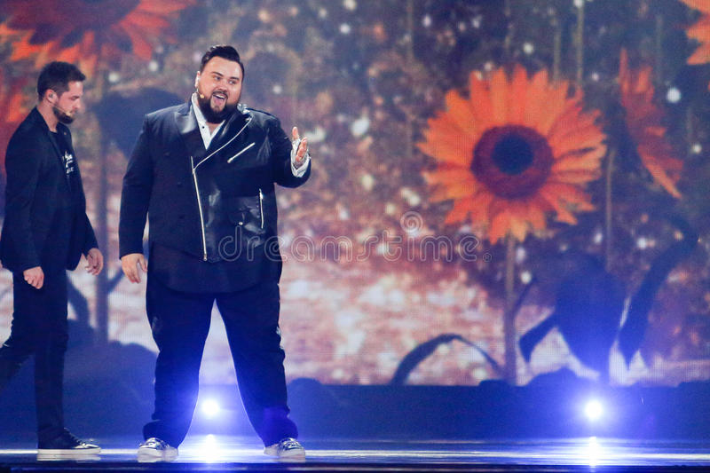 Jacques Houdek from Croatia Eurovision 2017. KYIV, UKRAINE - MAY 12, 2017: Jacques Houdek from Croatia at the Grand Final rehearsal during Eurovision Song stock photo