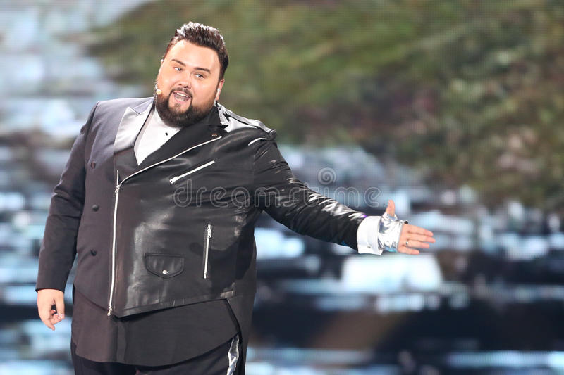 Jacques Houdek from Croatia Eurovision 2017. KYIV, UKRAINE - MAY 10, 2017: Jacques Houdek from Croatia at the second semi-final rehearsal during Eurovision Song stock image