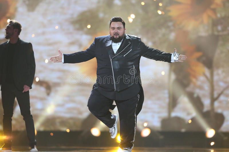 Jacques Houdek from Croatia Eurovision 2017. KYIV, UKRAINE - MAY 10, 2017: Jacques Houdek from Croatia at the second semi-final rehearsal during Eurovision Song stock photos
