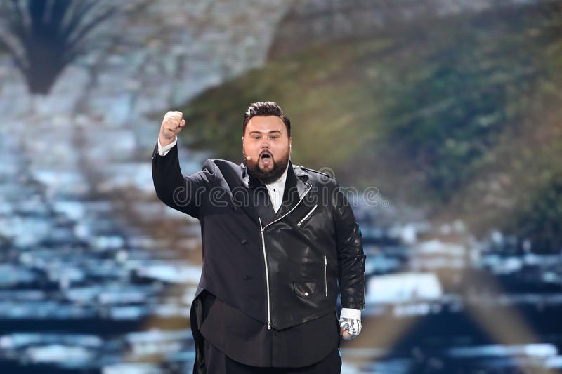 Jacques Houdek from Croatia Eurovision 2017. KYIV, UKRAINE - MAY 10, 2017: Jacques Houdek from Croatia at the second semi-final rehearsal during Eurovision Song stock photo