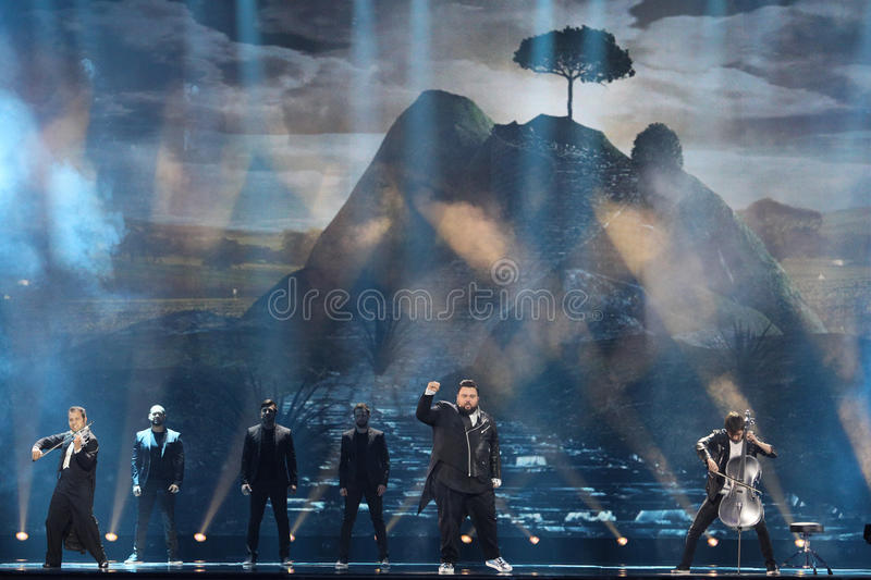 Jacques Houdek from Croatia Eurovision 2017. KYIV, UKRAINE - MAY 10, 2017: Jacques Houdek from Croatia at the second semi-final rehearsal during Eurovision Song royalty free stock photo