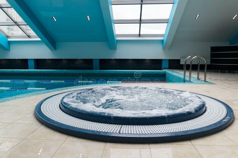Jacuzzi Bathtub Near Swimming Pool Stock Photo - Image of heat ...