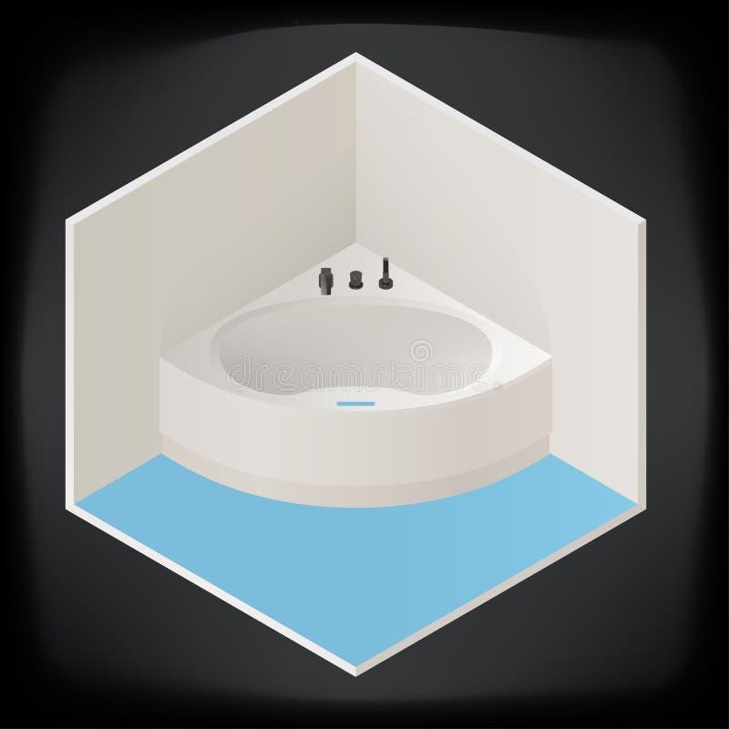 Jacuzzi Corner Bath Isometric Stock Vector - Illustration of icon ...