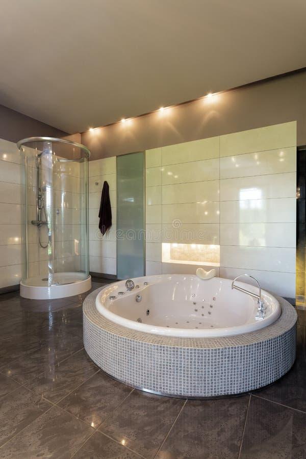 jacuzzi dans la salle de bains spacieuse image stock image du moderne jacuzzi 35433633. Black Bedroom Furniture Sets. Home Design Ideas