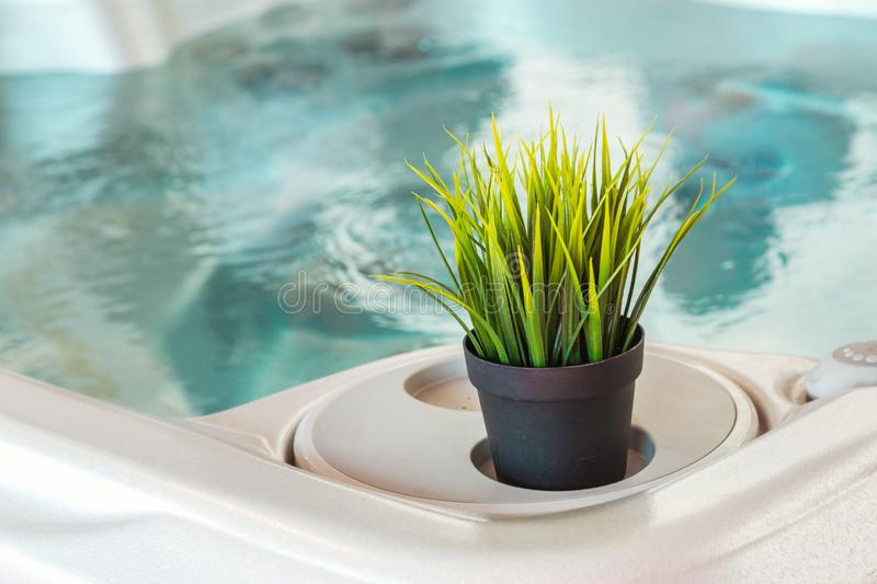 Jacuzzi with decorative plants evoking a calm and relaxed atmosphere. Jacuzzi decorated with decorative plants evoking a calm and relaxed atmosphere conducive to stock photography