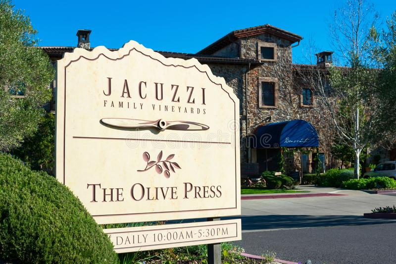 Jacuzzi Family Vineyards winery facade in Sonoma Valley Wine Country royalty free stock photos