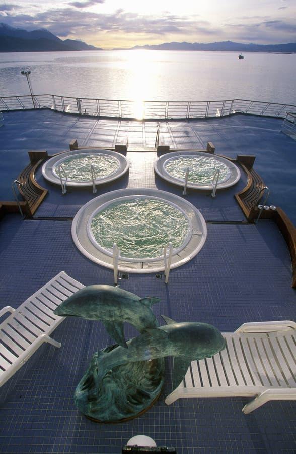 Jacuzzi na plataforma do navio de cruzeiros Marco Polo, a Antártica fotos de stock royalty free