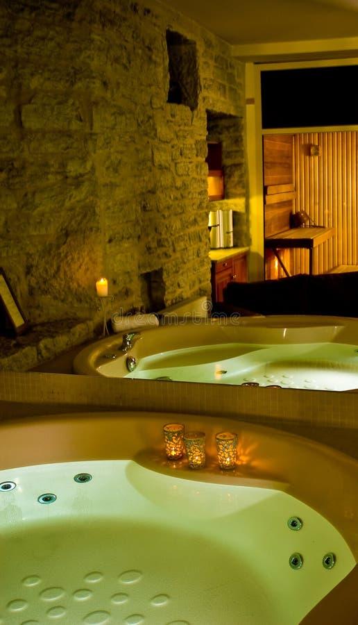 Jacuzzi y sauna imagenes de archivo
