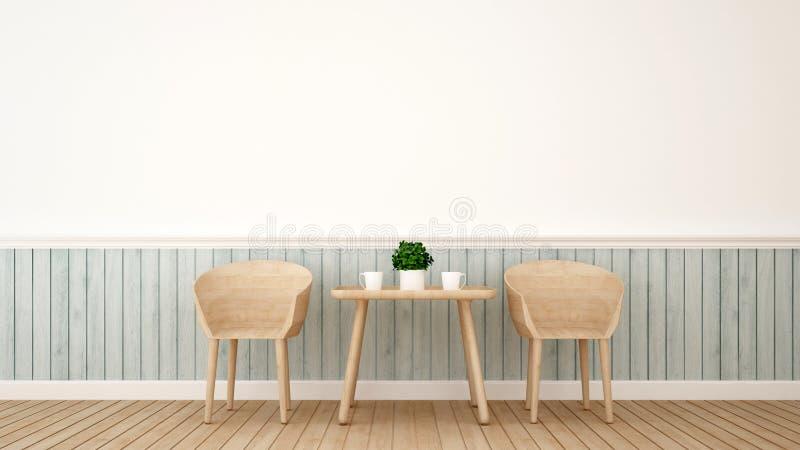 Jadalni ro restauracja - 3D rendering ilustracji