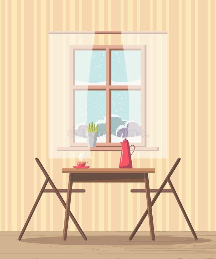 Jadalni wewnętrzny tło z stołem i krzesłami blisko okno z śnieżnym widokiem ilustracja wektor