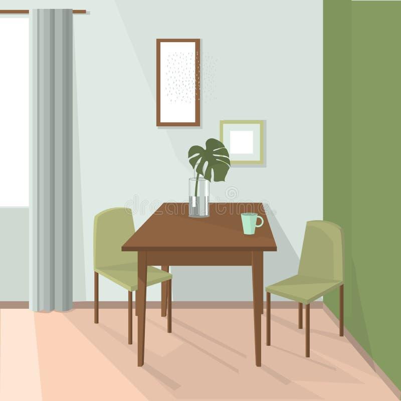 Jadalni wnętrze krzeseł gość restauracji stół royalty ilustracja