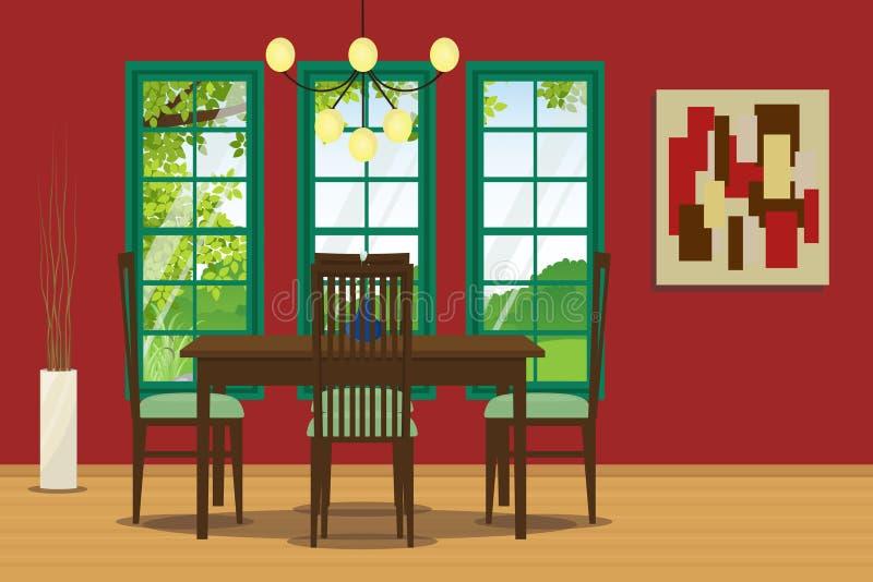 Jadalni wnętrze z stołem, krzesłem, wiszącą lampą i ściany dekoracją, również zwrócić corel ilustracji wektora royalty ilustracja