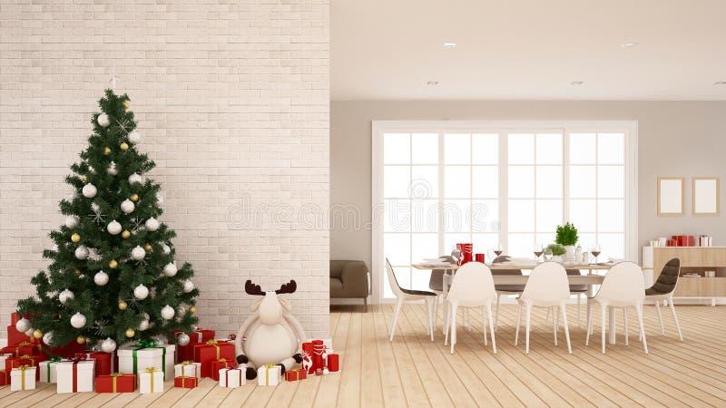 Jadalnia i choinka w domowym ro mieszkaniu 3D rendering - ilustracja dla święto bożęgo narodzenia - ilustracji