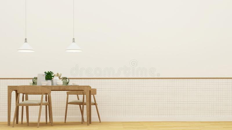 Jadalnia lub restauracja - 3D rendering ilustracji