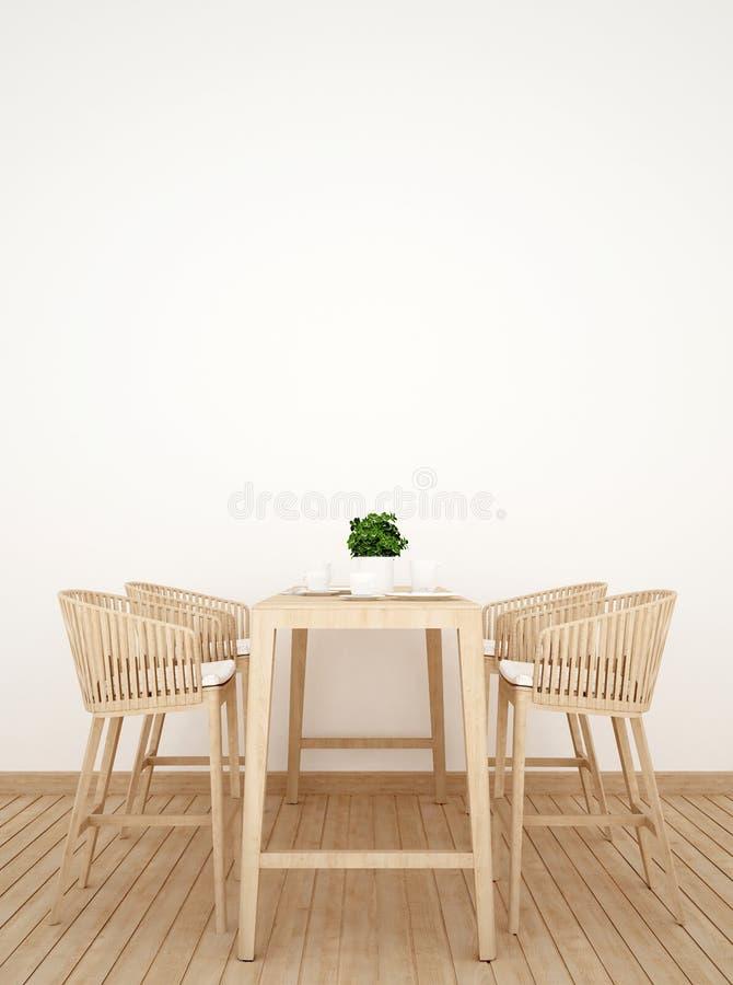 Jadalnia na drewnianego projekta pionowo obrazku - 3D rendering ilustracji