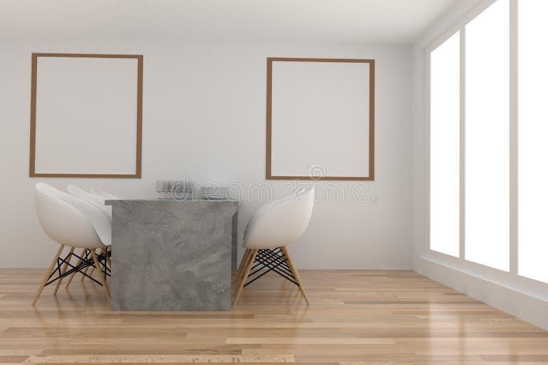 Jadalnia w bielu i drewniany izbowy projekt w 3D renderingu ilustracja wektor