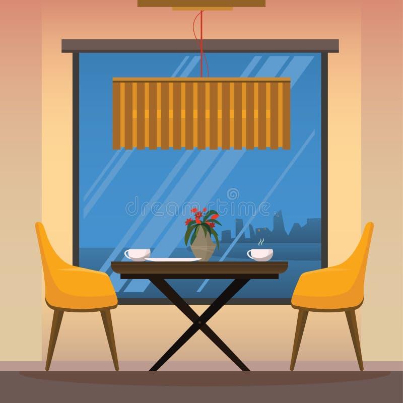 Jadalnia z żółtymi krzesłami obrazy royalty free