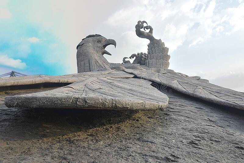 Jadayu - Earths center - Worlds biggest bird sculpture. Jadayu center - Worlds biggest eagle sculpture. Worlds first and biggest eagle / Jadayu sculpture stock photos