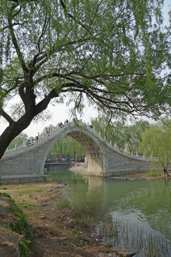 Jade Belt Bridge (Yudai Qiao) in Summer Palace. Built during Emperor Qianlong's reign(1736-1795),this high and thin bridge was named Jade Belt Bridge because its stock photo