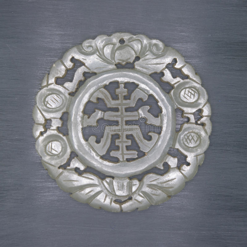 Jade carved Chinese characters 'fu shou', stock image