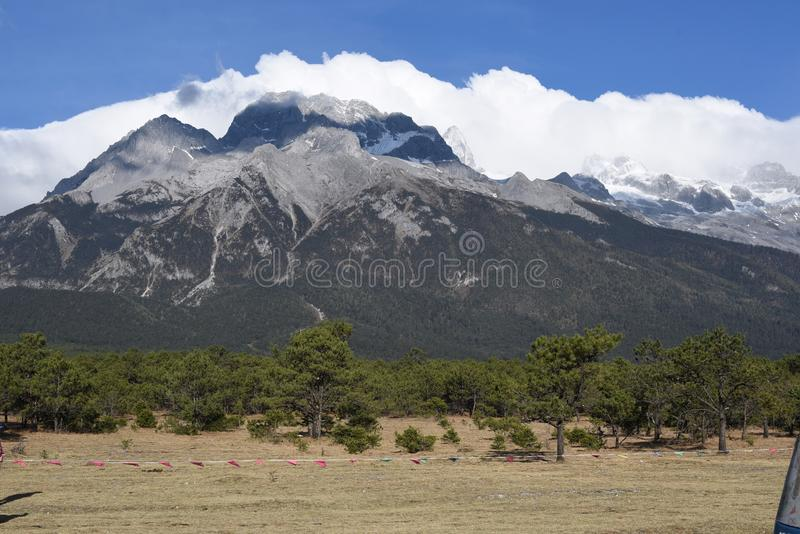 Jade dragon snow mountain. In yunnan province in Chinan stock images