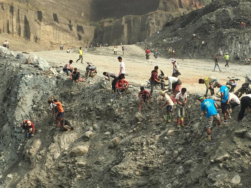 Jade Land Mining Area. Jade explorers are finding Jade which is the word highest quality stock photo