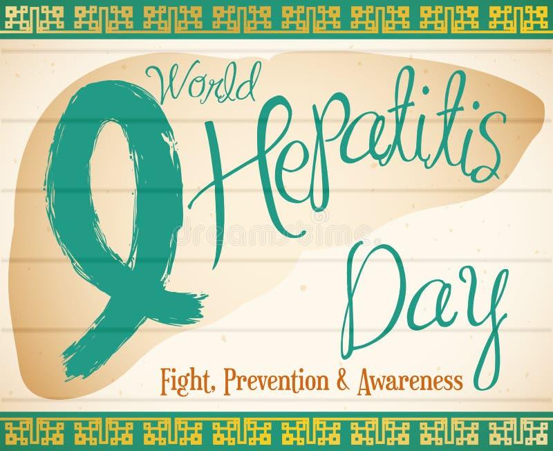 Jade Ribbon in Liver Shape Commemorating World Hepatitis Day, Vector Illustration vector illustration