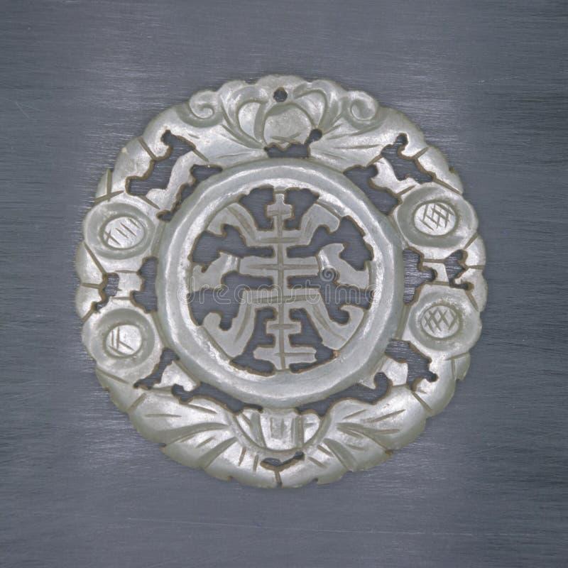 Jade schnitzte chinesische Schriftzeichen 'fu shou', stockbild