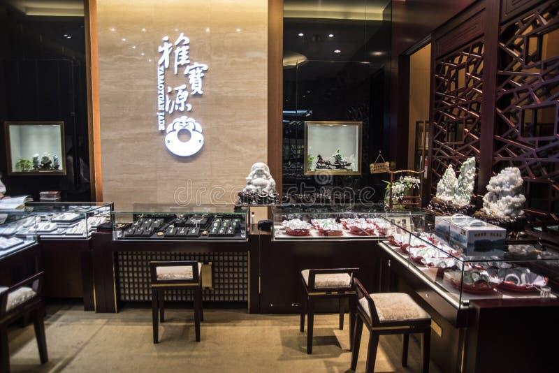 Jadesmycken shoppar, Shenzhen arkivbilder