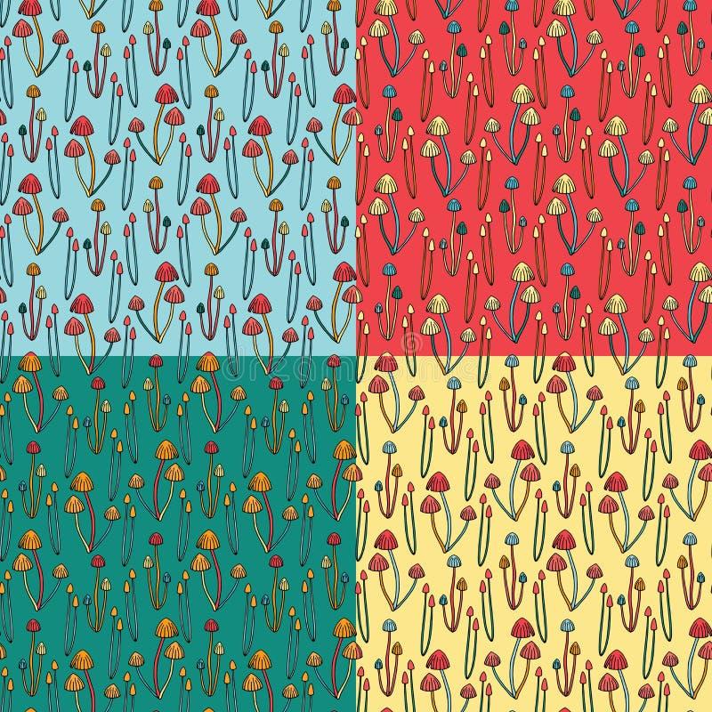 Jadowity pieczarkowy bezszwowy wzór Set kolorowe różnicy royalty ilustracja