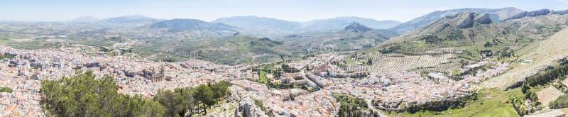 Jaen city panoramic view from Santa Catalina Cross view point, S royalty free stock photo