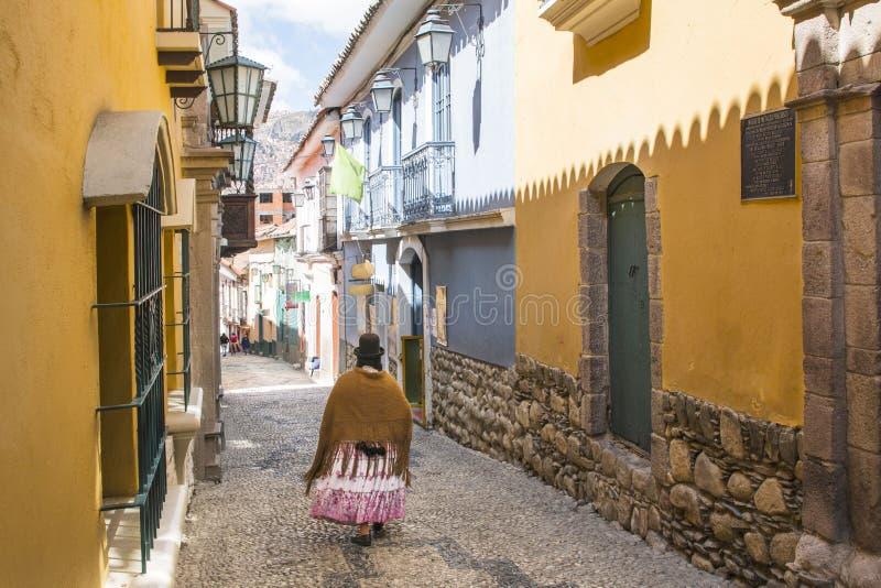 Jaen ulica w losie angeles Paz, Boliwia centrum miasta obraz stock
