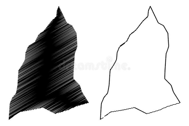 Jafara District Districts of Libya, State of Libya, Tripolitania map vector illustration, scribble sketch Al Jfara map.  royalty free illustration